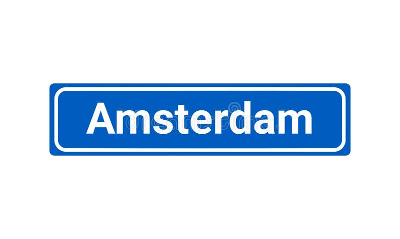 Blue And White City Sign Of Amsterdam. Blue And White Vector City Sign Of Amsterdam In The Netherlands vector illustration