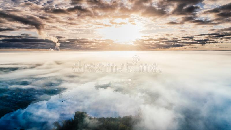 Blue and White Cloudy Sky Photo stock photo