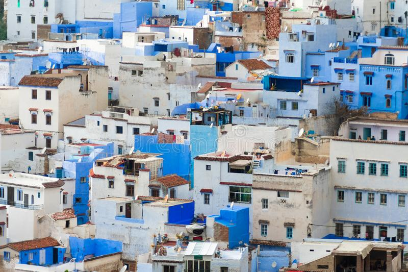 Blue and White Colored Homes and Buildings in Chefchaouen Morocco. A skyline closeup of blue and white color homes and buildings in the blue city of Chefchaouen royalty free stock images