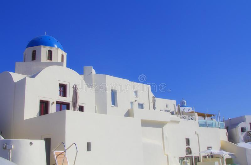 Blue and white colours of Oia City. Magnificent panorama of the island of Santorini Greece during a beautiful sunset in the Medite stock images