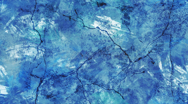 Blue and White Cracked Wall Seamless Texture Background. Blue and white grunge cracked plaster with visible brush strokes, seamless tile background texture stock image