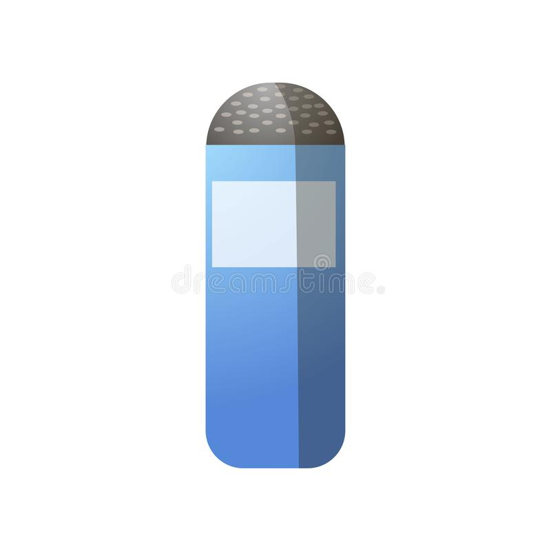 Blue white cylinder kitchen salt, for food preparation. Or bbq party. Cartoon style. Vector illustration on white background royalty free illustration