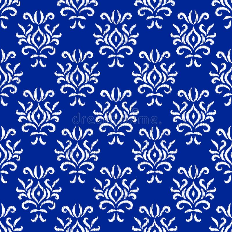Blue and white damask ikat ornament geometric floral seamless pattern, vector stock illustration