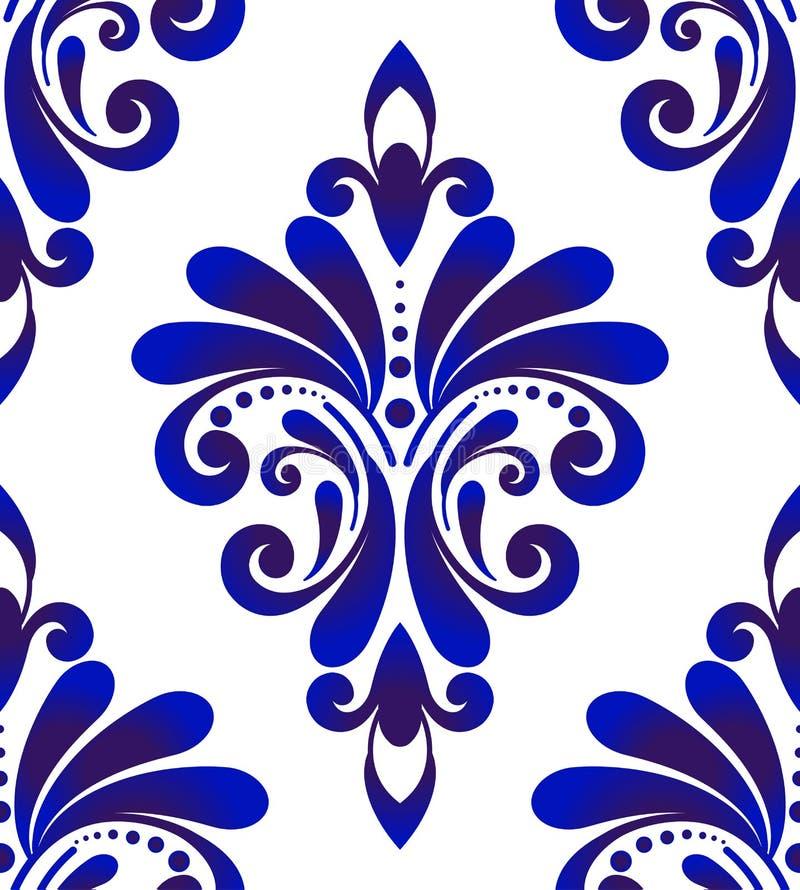 Blue and white damask pattern royalty free stock image