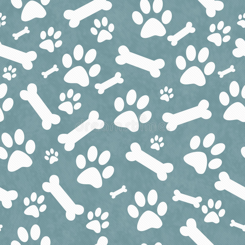 Blue and White Dog Paw Prints and Bones Tile Pattern Repeat Back royalty free illustration