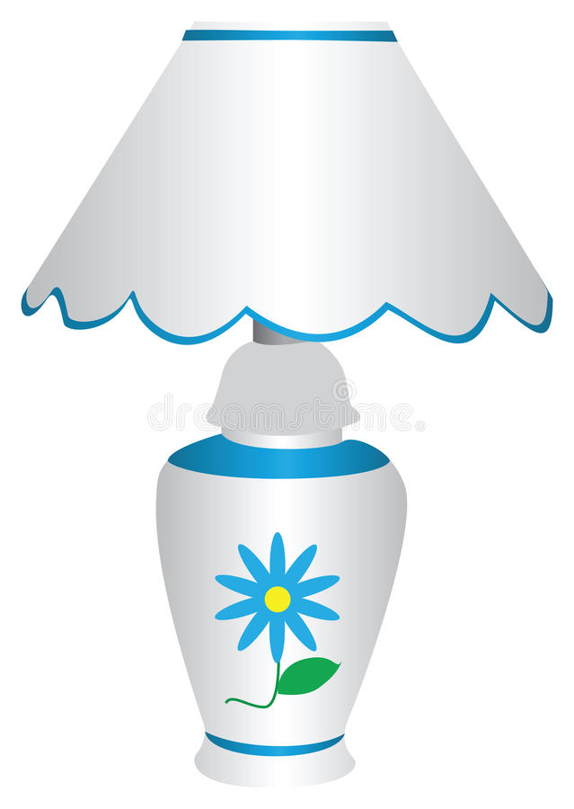 Blue and white electric lamp with a blue flower. Blue and white electric lamp with lampshade, with a painted blue marguerite on front, isolated against a white stock illustration