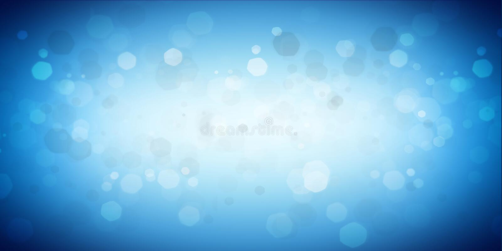 Blue white empty glowing panorama bokeh background royalty free illustration