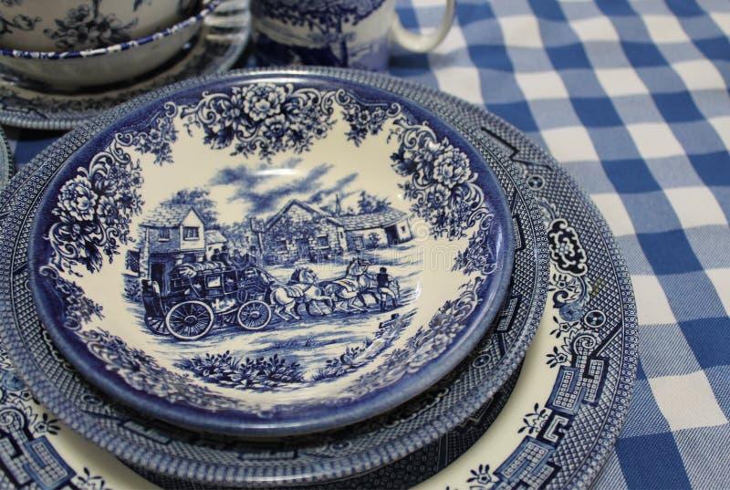 Blue and White English China Dishes stock photos