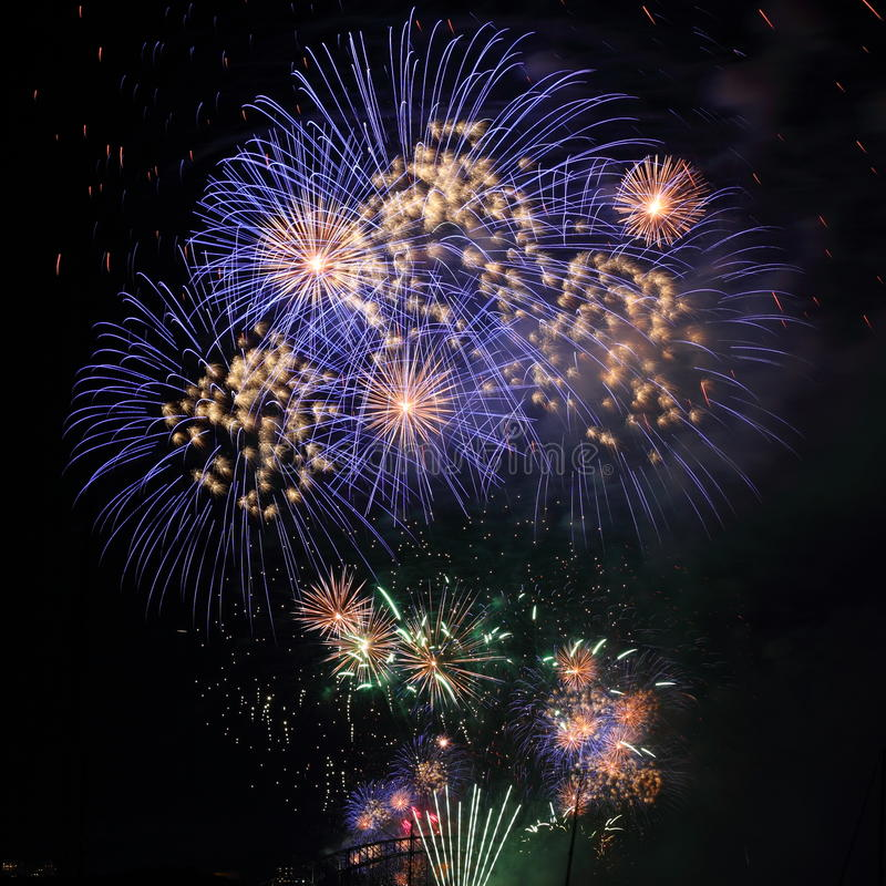 Download Fireworks Blue White In Night Sky Stock Photo - Image: 22673926