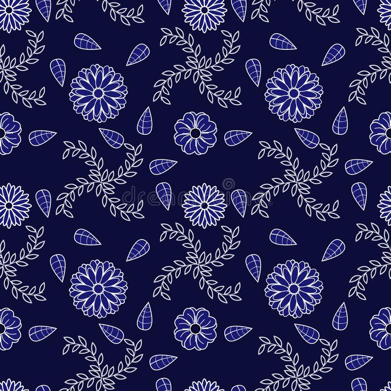 Blue and White Flower Pattern stock photos