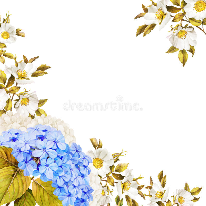 Blue white flower wedding decoration. Watercolor hydrangea, rose stock illustration