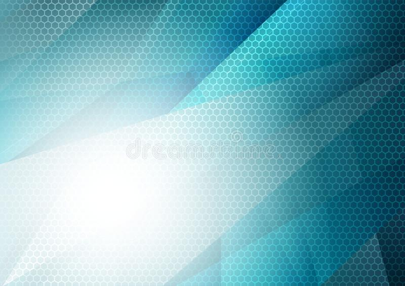 Blue and white geometric abstract background with copy space, Graphic design.  stock illustration