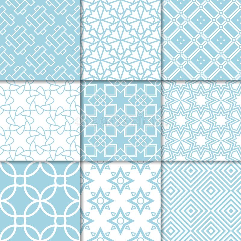 Blue and white geometric ornaments. Collection of seamless patterns stock illustration