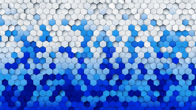 Blue white gradient hexagons turned abstract 3D rendering stock illustration