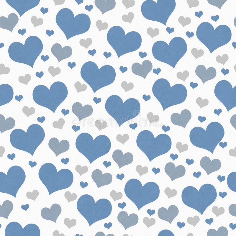 Blue, White and Gray Hearts Tile Pattern Repeat Background stock image