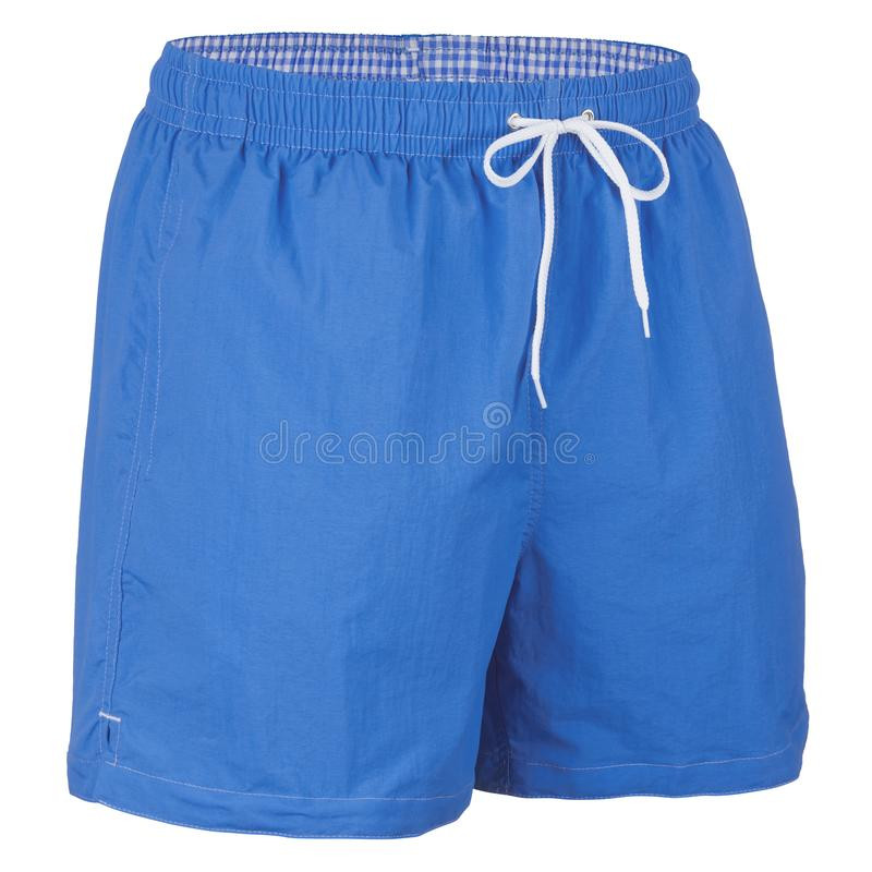 Blue and white with grid pattern men shorts for swimming royalty free stock photography
