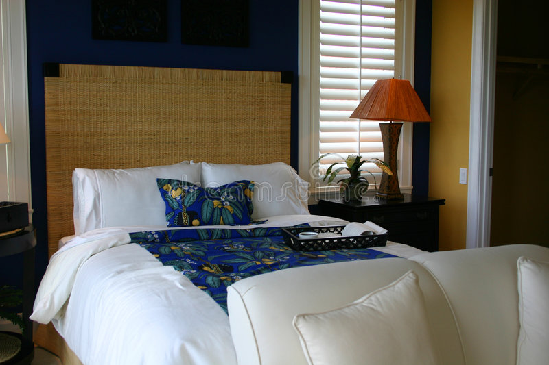 Blue and White Guest Room stock images