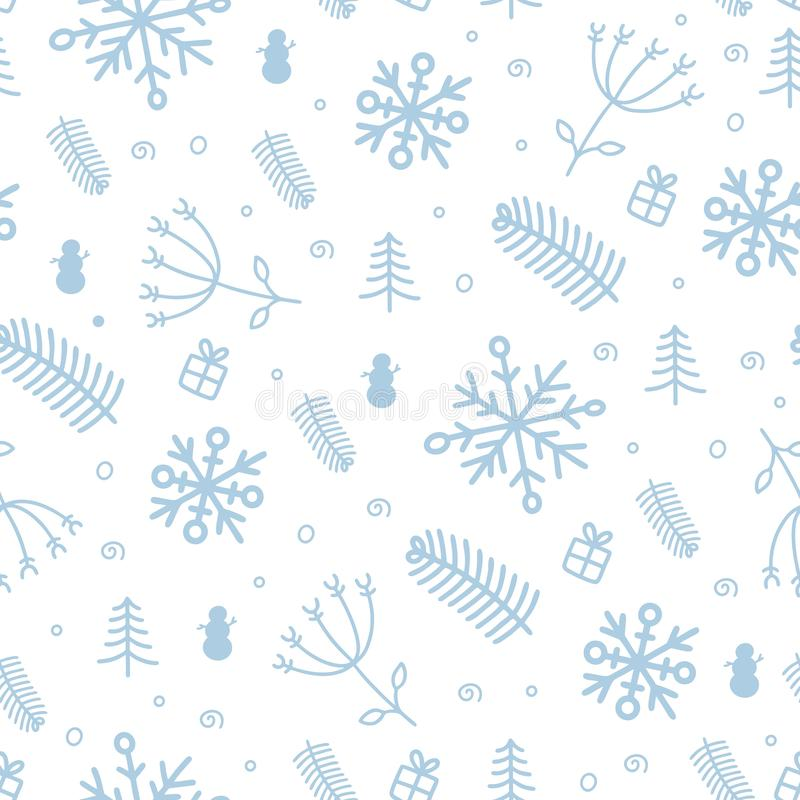 Blue and white hand drawn doodle pattern with balls, tree, stars and bell. Christmas and new year greeting card. Flat vector royalty free stock photo