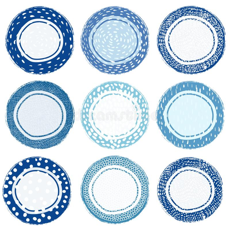 Blue and white hand drawn vector doodle labels vector illustration