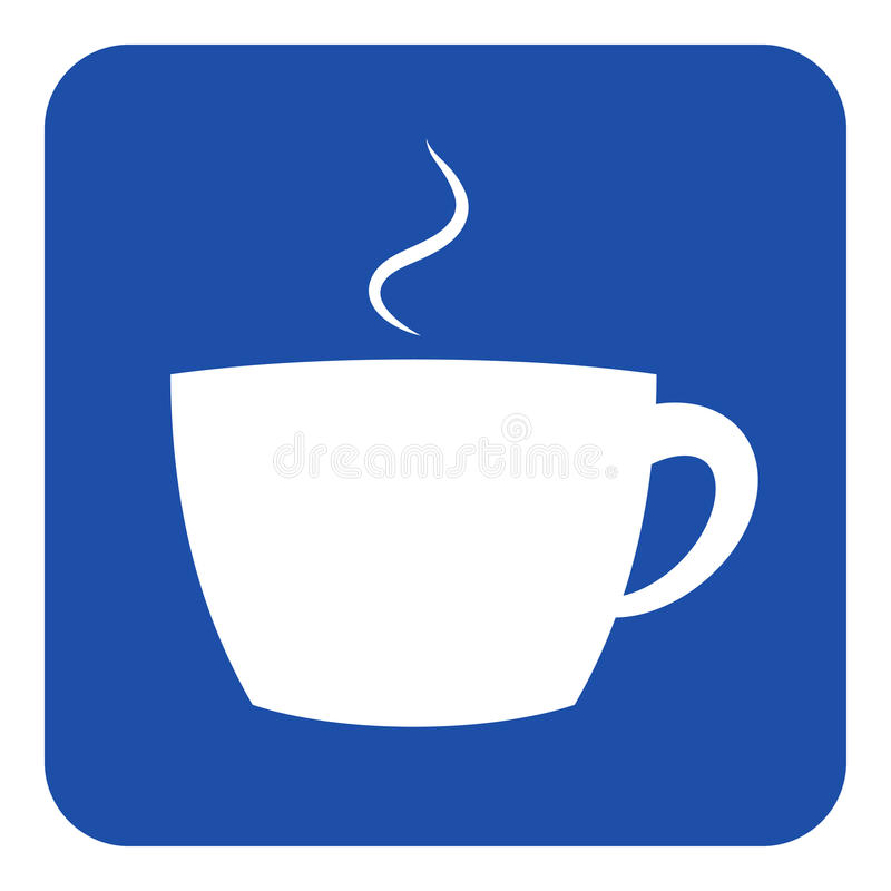 Blue, white information sign - cup with smoke icon royalty free illustration