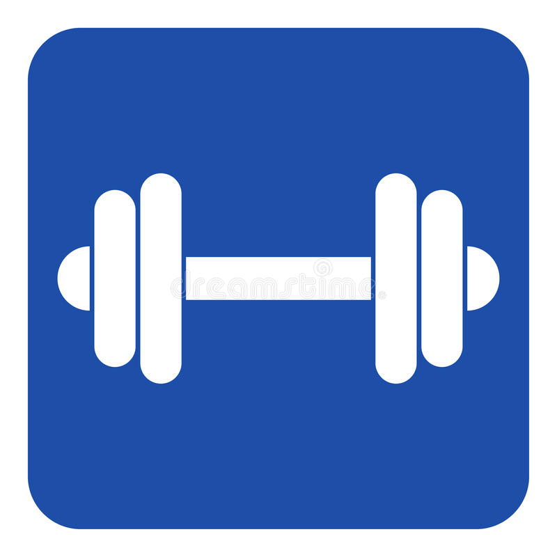 Free Blue, White Information Sign - Dumbbell Icon Royalty Free Stock Images - 90229809
