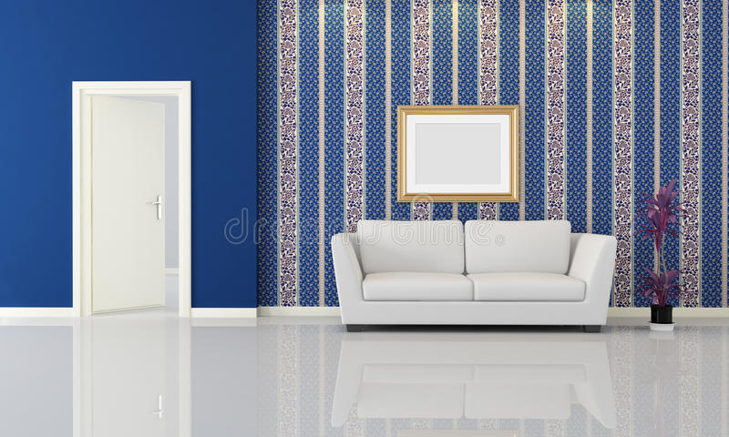 Blue and white interior stock illustration
