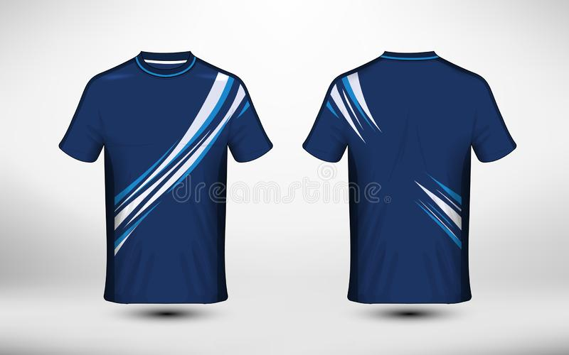 Blue and white layout e-sport t-shirt design template vector illustration