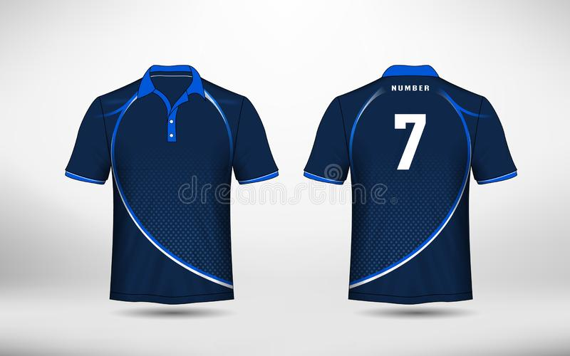 Blue and white layout e-sport t-shirt design template stock illustration