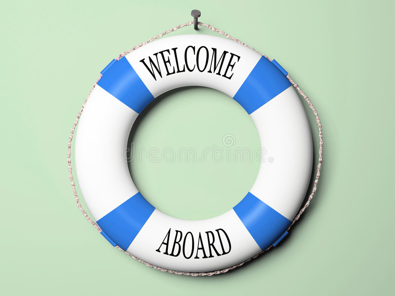 Blue and white life buoy vector illustration