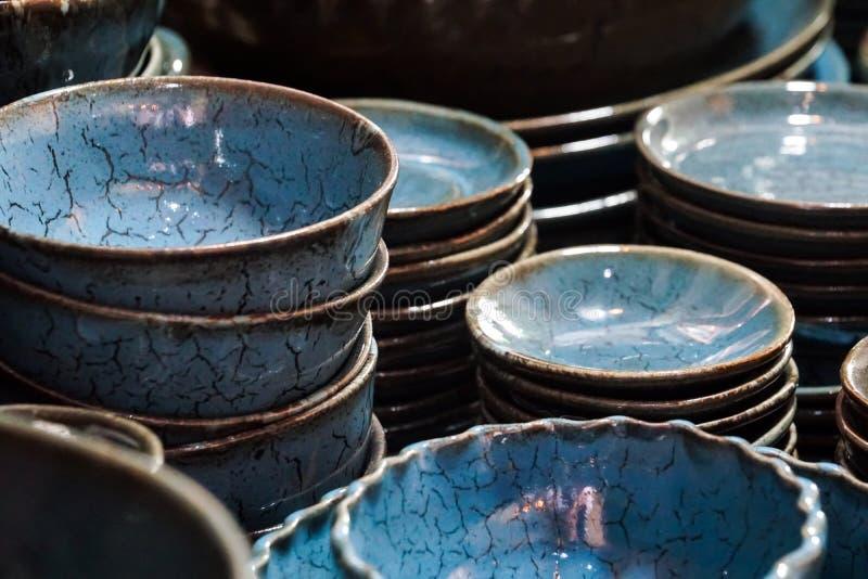 Blue white marble pattern ceramic porcelain dinnerware plates dishes. Blue white marble pattern ceramic porcelain dinnerware plates and dishes royalty free stock photos