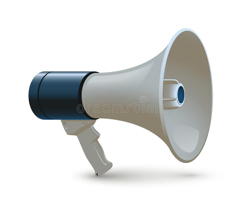 Blue and white megaphone isolated on white background. Vector realistic 3d bullhorn. stock illustration