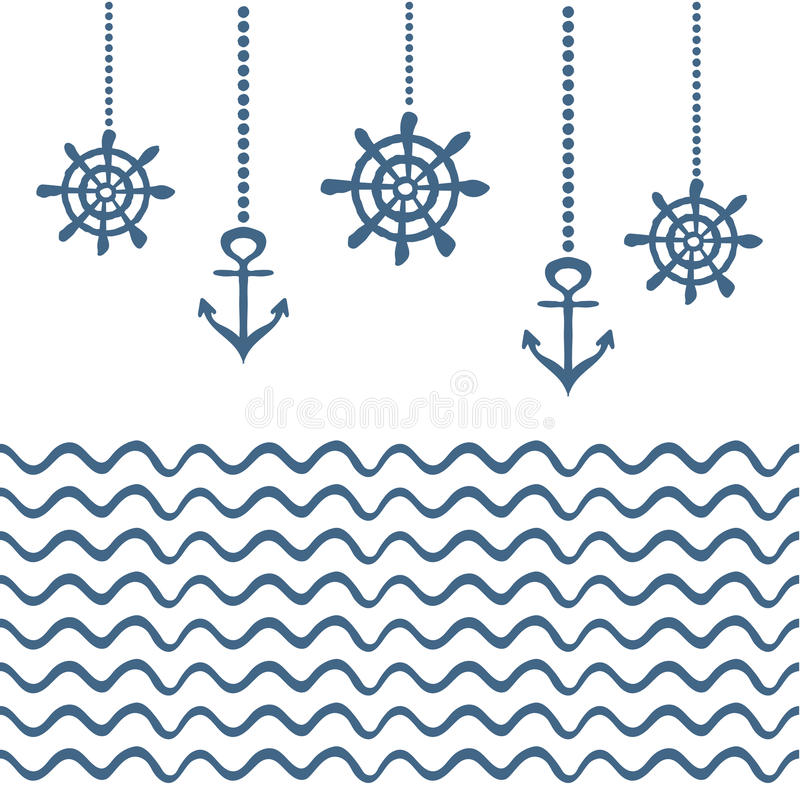 Blue And White Nautical Template Stock Vector - Illustration of ...