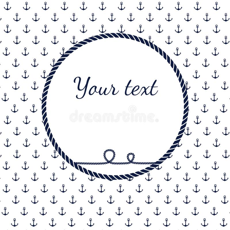 Blue and white navy rope circle frame with anchors. Decorative elements in nautical style, marine card background vector illustration