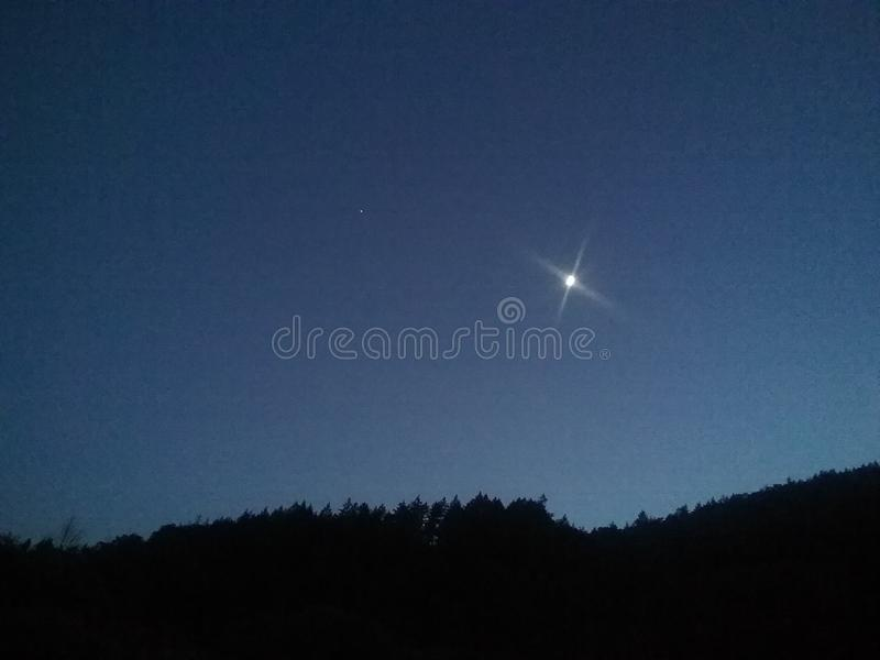 Download Beautiful Night Sky With Moon And Star Stock Image