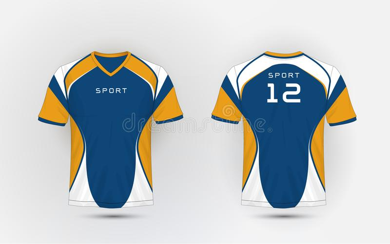 Blue, White and orange stripe pattern sport football kits, jersey, t-shirt design template. Illustration vector royalty free illustration