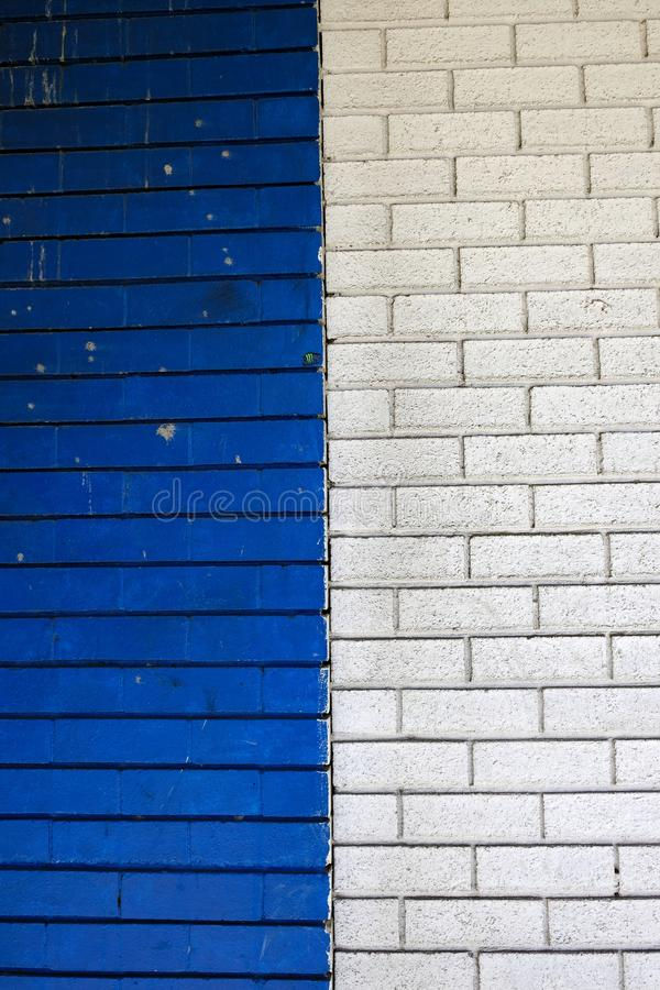 Blue and White Painted Brick Walls stock photo