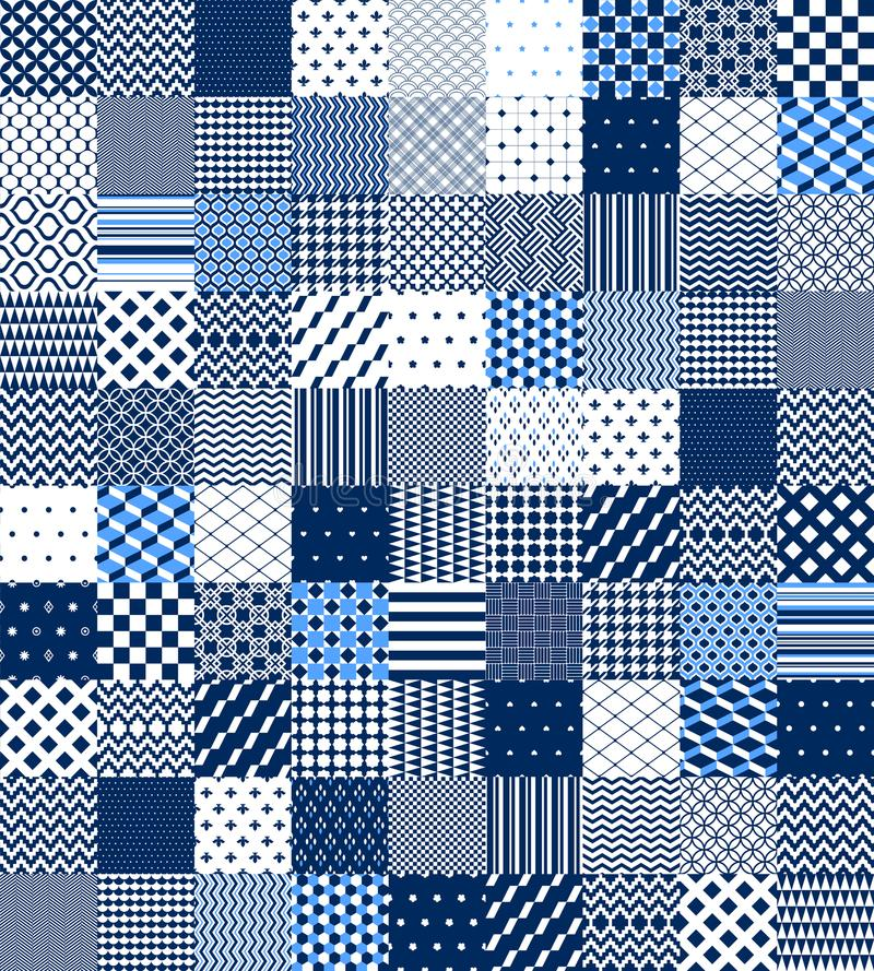 Blue and white patchwork quilted geometric seamless pattern, vector set. Background vector illustration