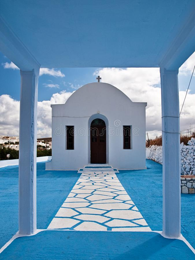 Blue and white path small chapel. stock photos