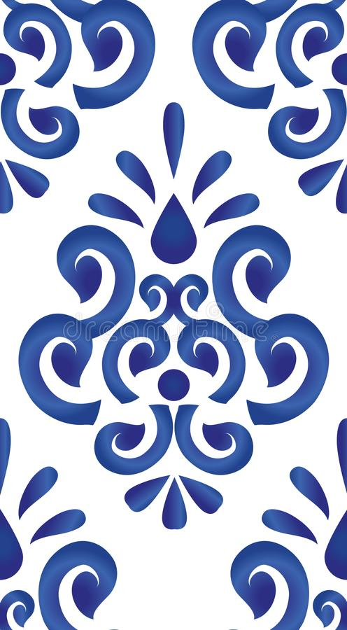 Blue and white pattern. Floral ornament on watercolor backdrop, blue and white ceramic tile pattern seamless vector illustration, cute porcelain background vector illustration
