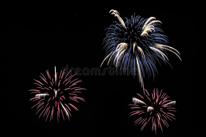 Blue, white and pink fireworks on dark background stock photos