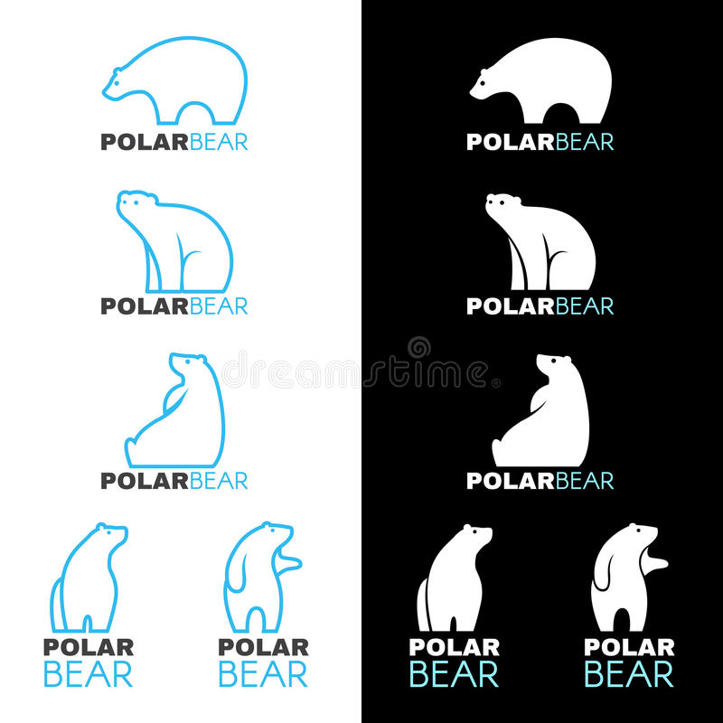Blue white Polar bear logo vector design royalty free illustration