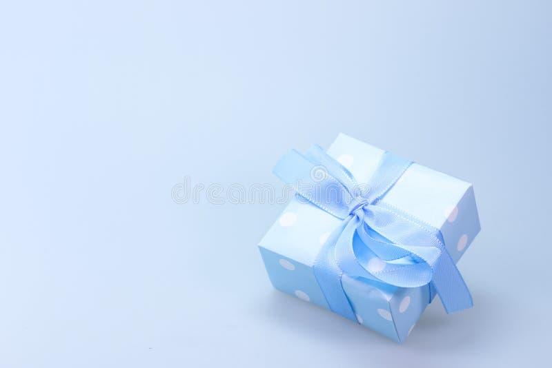 Blue And White Polka Dot Gift Box With Blue Ribbon Free Public Domain Cc0 Image