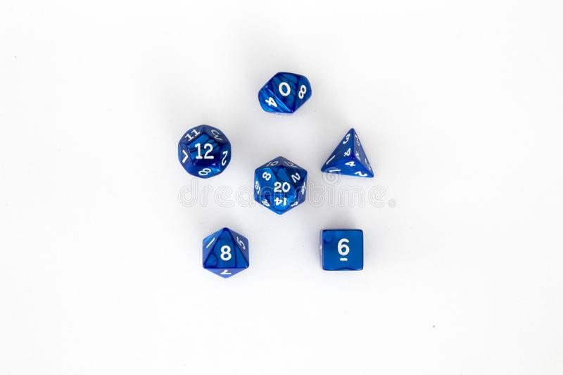 Poly dice set blue and white royalty free stock image