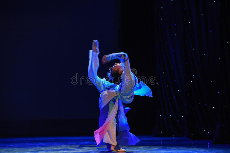 Blue and white porcelain-The national folk dance. Graduation performance of class 2, grade 11, dancing department,Jiangxi Vocational Academy of Art on Dec 24 stock image