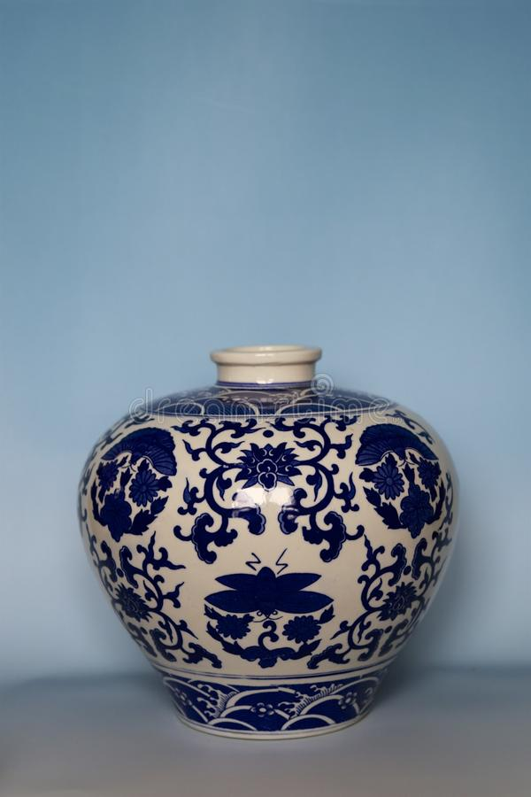Blue and white porcelain. Produce since Tang and Song Dynasty, is the one of major chinaware, the most popular  are made in Jingdezhen, Jiangxi, China stock photo