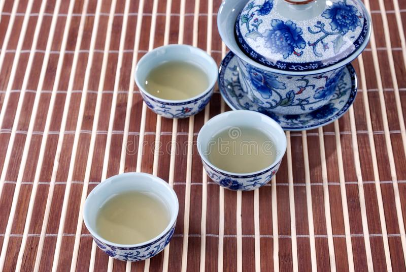 Blue and white porcelain teacups stock images