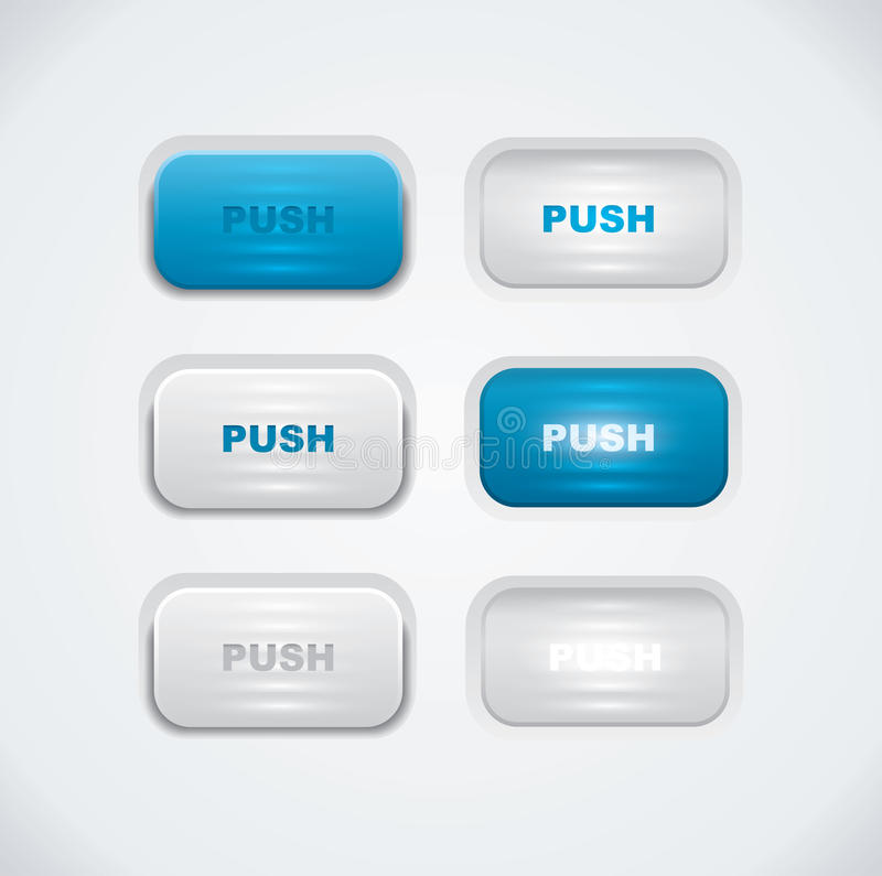 Blue And White Push Buttons Stock Photos