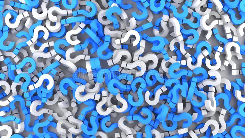 Blue and white question marks. Background. 3D rendering stock illustration