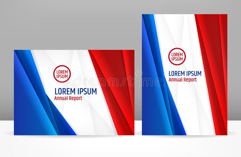 Blue white red corporate template design for brochure cover or presentation for government or business company. For USA, France royalty free illustration