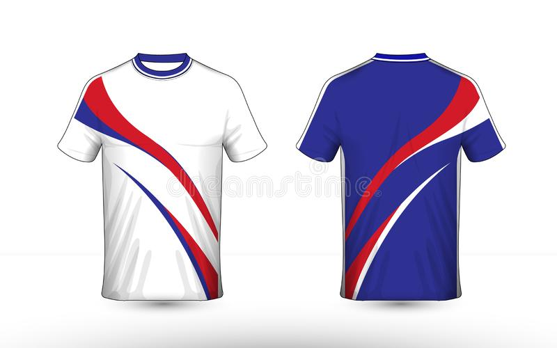 Blue, white and red layout e-sport t-shirt design template vector illustration